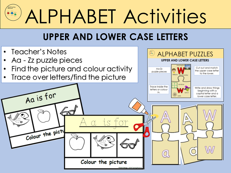 Alphabet Activities, Match Capital/Lower case letters Puzzles, Trace over dots, Cut /Paste, EYFS/KS1
