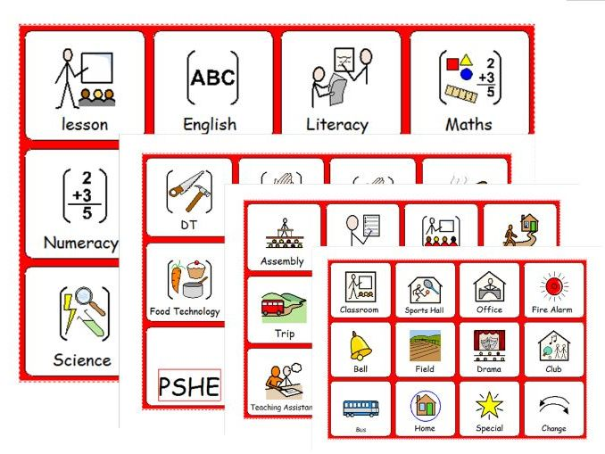 Symbols for Lessons and School Activities for Timetables and Structure - SEN - ASD - Behaviour