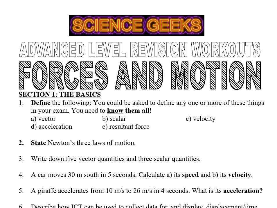 FORCES AND MOTION - ADVANCED LEVEL PHYSICS REVISION WORKOUTS