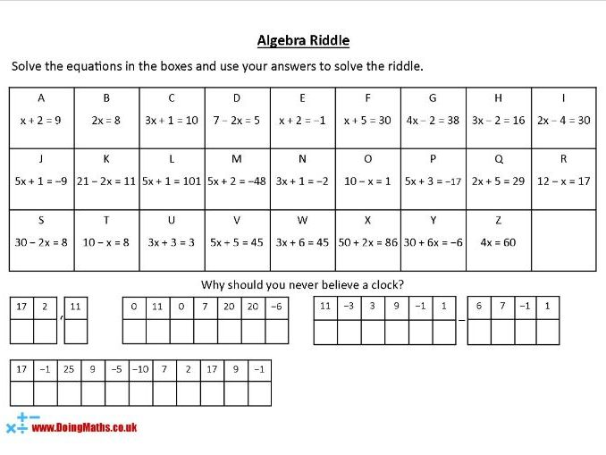 Algebra Riddles - KS3 Maths Worksheets