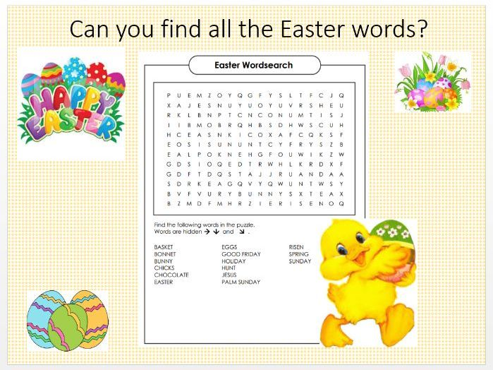 Easter Activities for KS2 -  Powerpoint Quiz and Pack with Wordsearch Colouring Maze Crossword etc