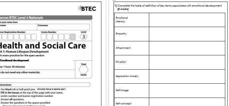 BTEC Health & Social Care Level 3 Unit 1 Lifespan A3 Emotional Development content