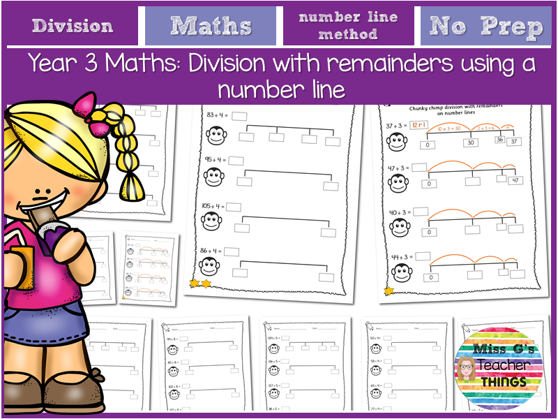 Year 3 maths: division using number lines with remainders (chunky chimp method)