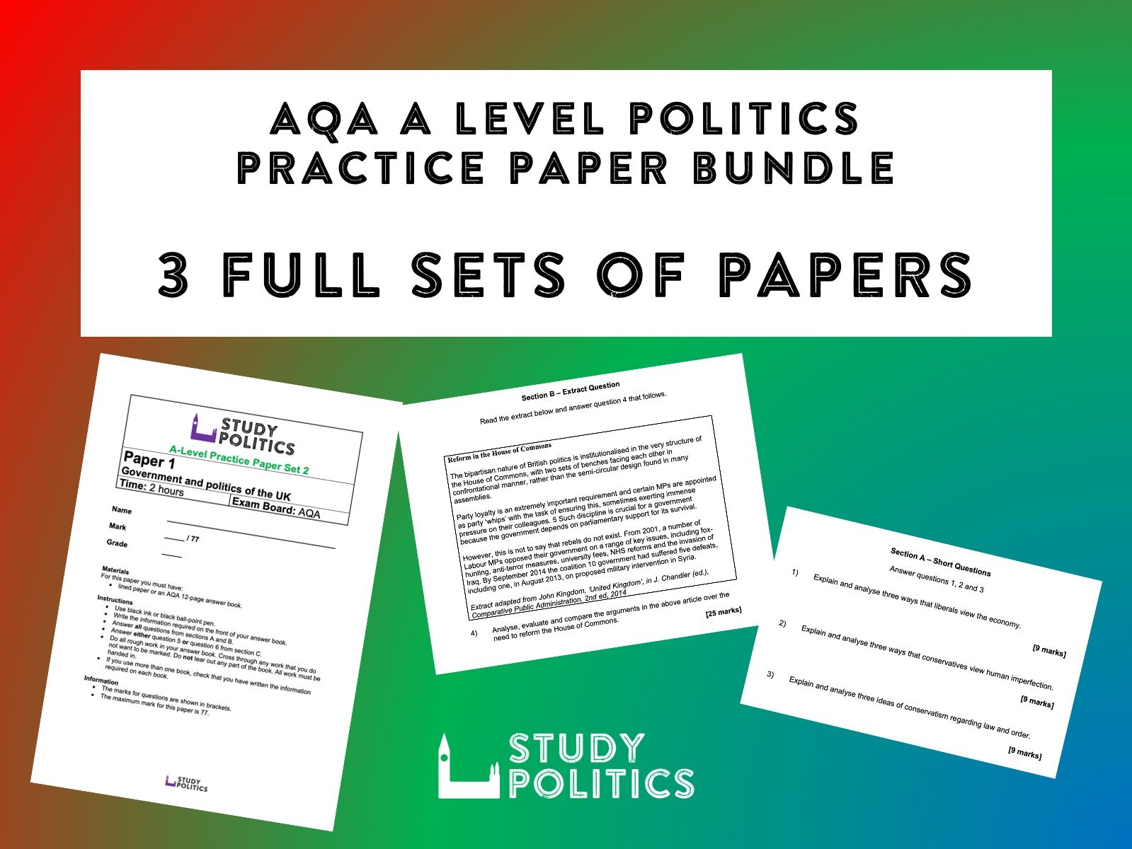 AQA A Level Politics Practice Paper Bundle - 3 Full Sets of Practice Papers