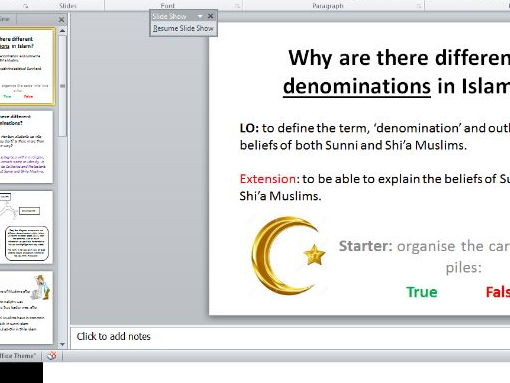 The denominations of Islam: Sunni and Shi'ah Muslims (NEW SPEC AQA)