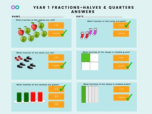 Free Year 1 fraction worksheet