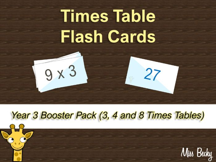 Times Table Flash Cards - Year 3 Booster Pack (3, 4 and 8)