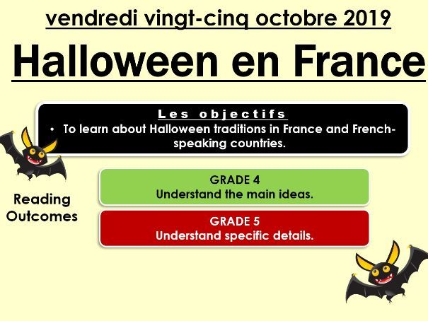 KS4 Halloween in France Reading Comprehension