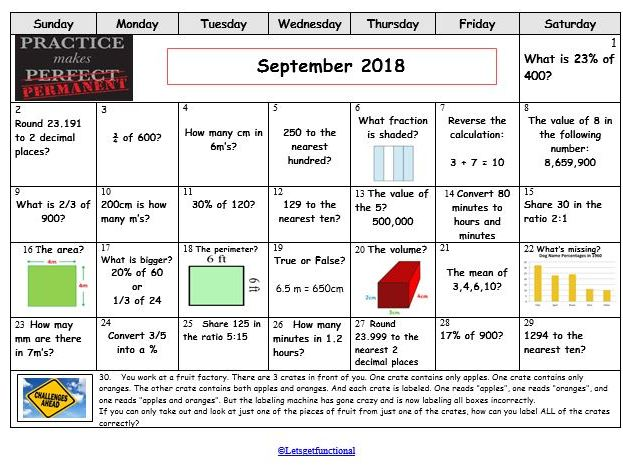 Functional Skills Maths Calendar September and  October (Halloween themed)