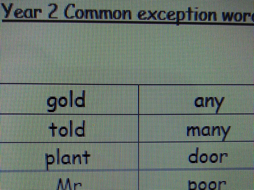 Year 2 common exception word pack
