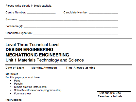 KS5 AQA Design & Mechatronic Engineering Tech Level Unit 1 Materials, Science & Technology Mocks (2)