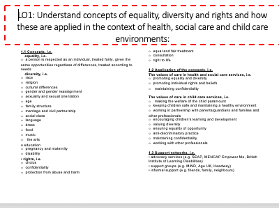 Health and Social care - Unit 2: Equality and Diversity REVISION Cambridge Technical -