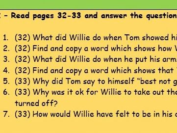 Year 5/6 Goodnight Mr Tom ch.2 reading comprehension pages 32-33