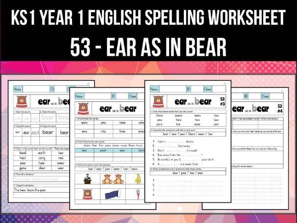 Spelling & Phonics Worksheet - ɛː sound spelled EAR