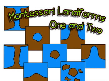 Montessori 3-Part Cards: Landforms Drawings & Photos