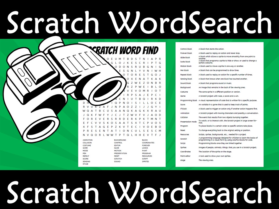 Scratch Hour of code WordSearch Wordfind with Glossary