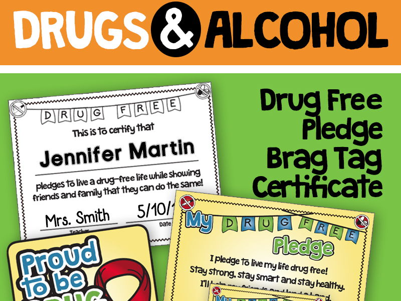 Drug and Alcohol Unit Brag Tags, Certificates, Pledge - Red Ribbon & Prevention
