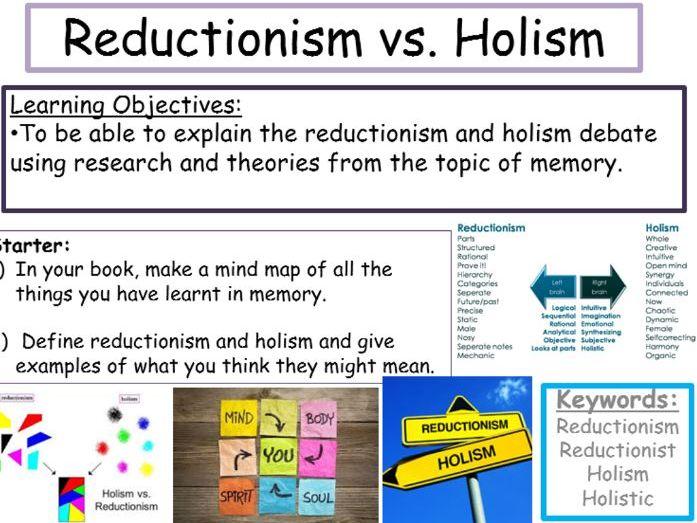 GCSE Edexcel Psychology (9-1): Topic 2: Memory, Lesson 8: Reductionism vs. Holism