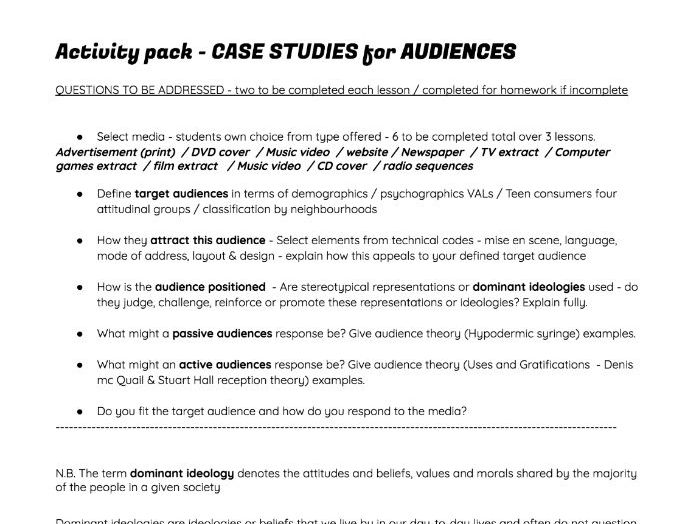 Audience Theory Exam revision, How to apply theorists & ideology - Case Study Intro demographics PP