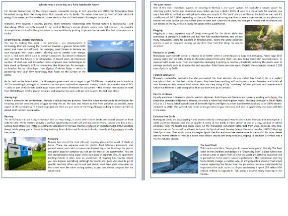 Why Norway Is on Its Way to a Fully Sustainable Future - Reading Comprehension Text / Informational