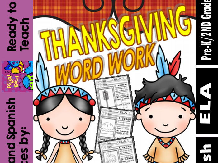 Thanksgiving Word Work Printables for Little Kids (20 words)