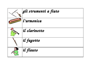 Strumenti musicali (Musical instruments in Italian) word wall