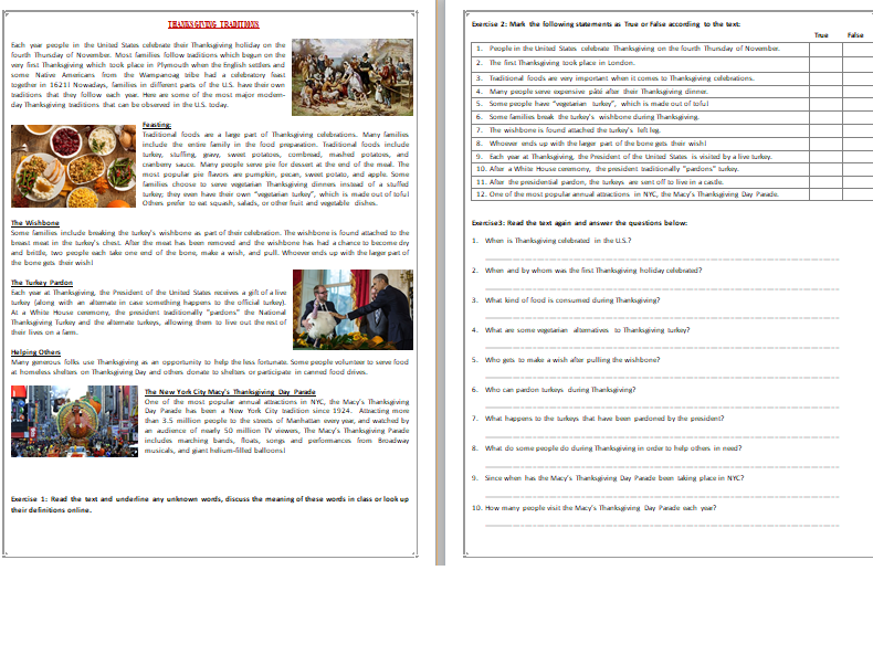 Thanksgiving Day - Reading Comprehension Text / Worksheet Teaching  Resources