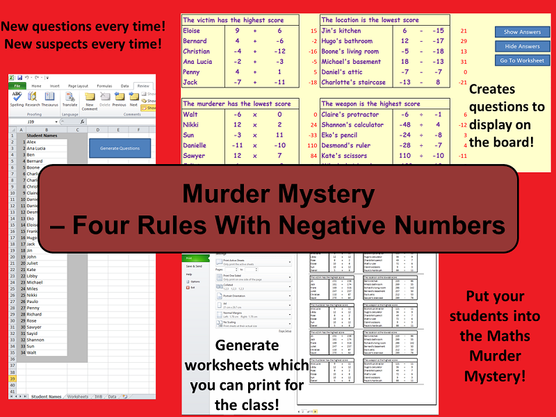 Custom Reusable Murder Mystery - Four Rules With Negative Numbers