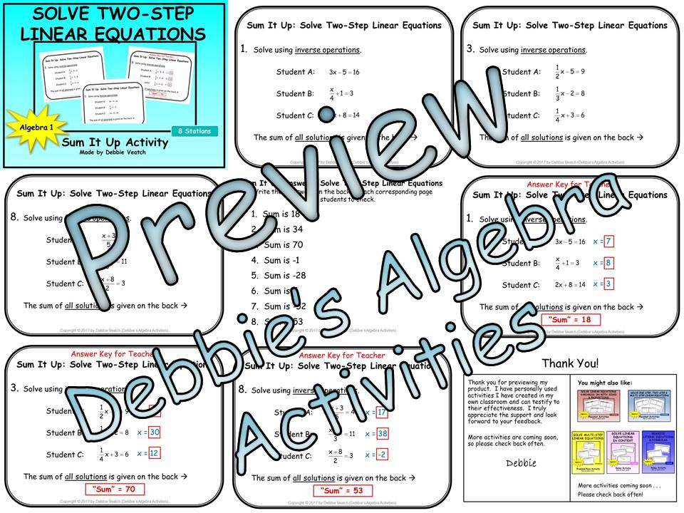 Solve Two-Step Equations Sum It Up Activity