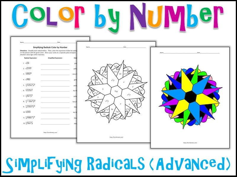 Simplifying Radicals (Advanced) Color by Number