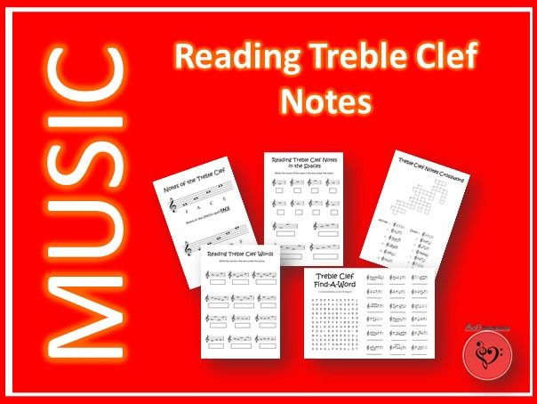 Reading Treble Clef Notes - 22 Printable/Digital Worksheets - Online/Distance Learning