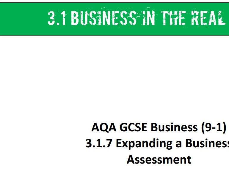 AQA GCSE Business (9-1) 3.1 Business in the Real World Topic Assessments