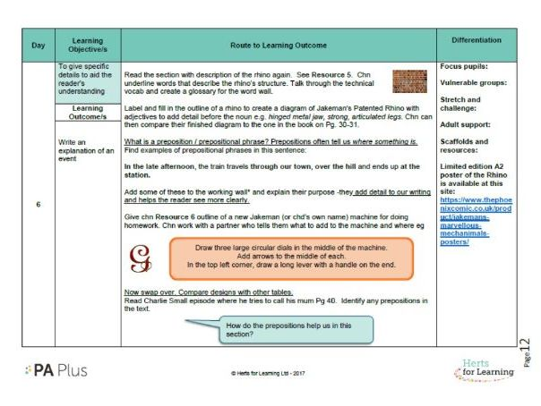Detailed English Plan Year 4 explanations