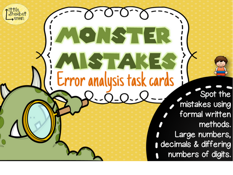 Error Analysis / Spot the Mistake Task Cards for Written Subtraction Methods Yr 5 & 6