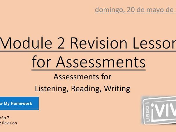 KS3 Spa Viva 1 Module 3.3 to 3.5 plus Assessment Revision Lesson 75 min - 4 resources