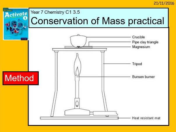 """A digital version of the Year 7 C1 3.5 """"Conservation of Mass"""" lesson."""