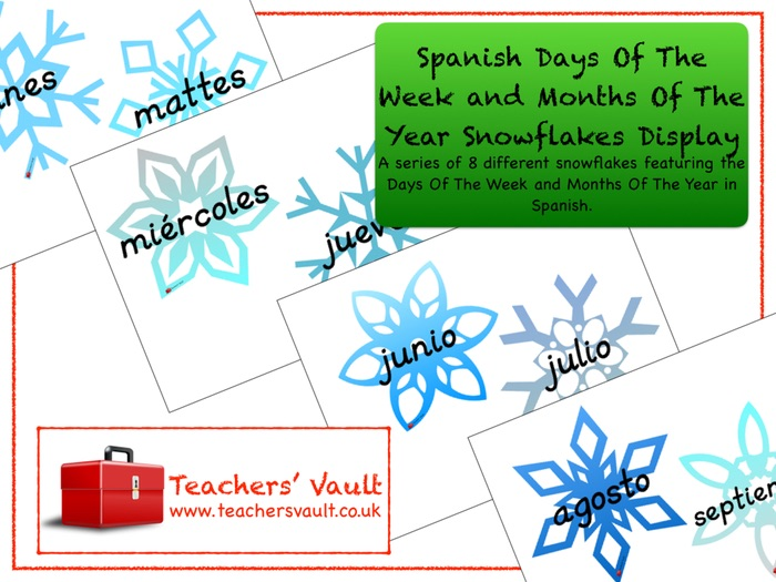 Spanish Days Of The Week and Months Of The Year Snowflakes Display