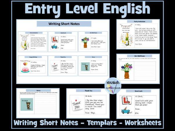 Entry Level English: Writing Short Notes