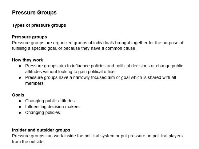 A level Politics : Pressure Groups part 1