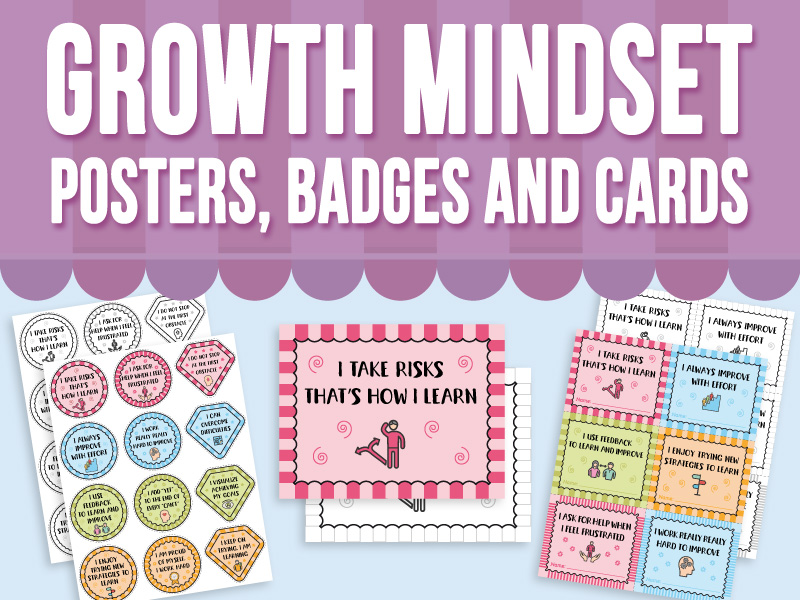Growth Mindset Posters, Badges and Cards