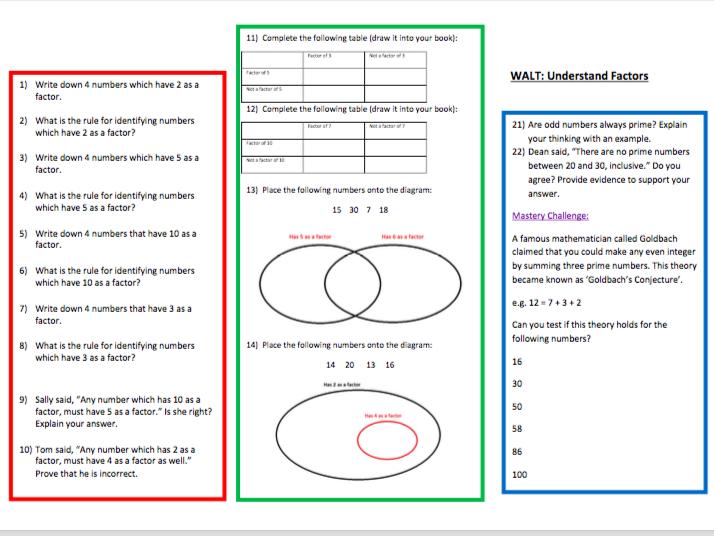 A Worksheet on Factors & Prime Numbers  (1)
