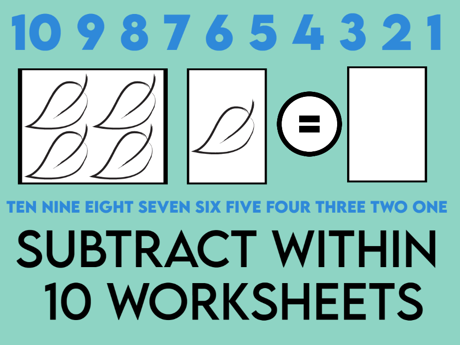 Subtract Within 10 Worksheets