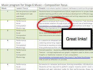 Stage 6 Music Program with 10-week lesson, you tube and research links. Assessment rubric included