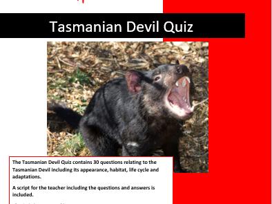 Science: Living things and their Habitats: Tasmanian Devil Quiz