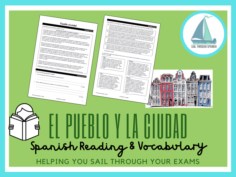 El pueblo y la ciudad: Spanish GCSE Reading, Vocab, Translation & Writing Practice