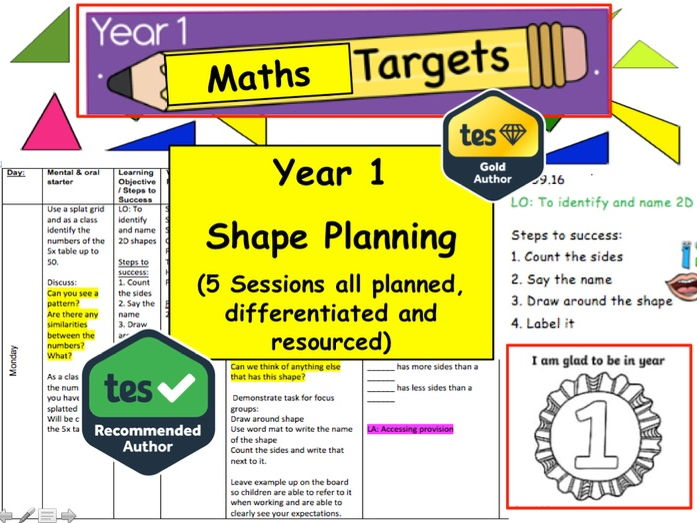 Year 1 / 2 Shape Planning  Resource Pack (Maths, Numeracy, Shape, Mastery)