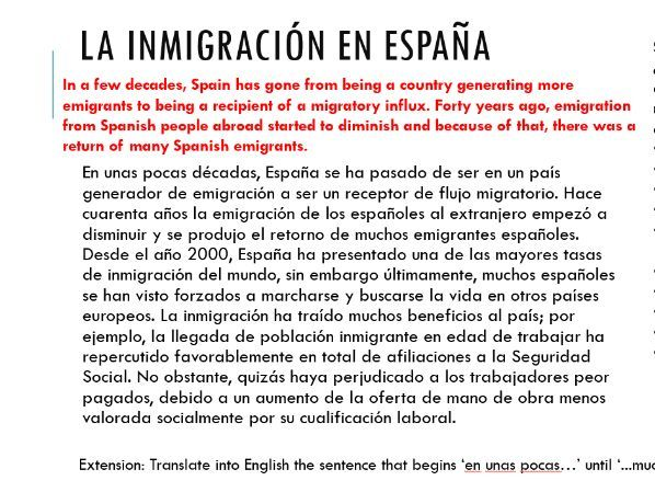 La Inmigracion (introduction lesson)