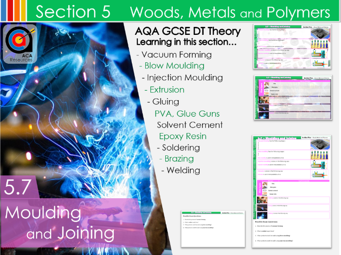 AQA GCSE DT 5.7 Moulding and Joining