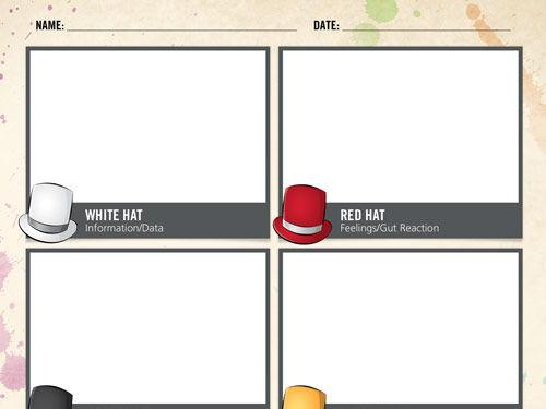 DeBono's Thinking Hats Worksheet - Free Printable