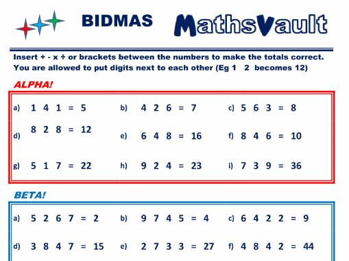 BIDMAS Insert the signs Differentiated worksheet